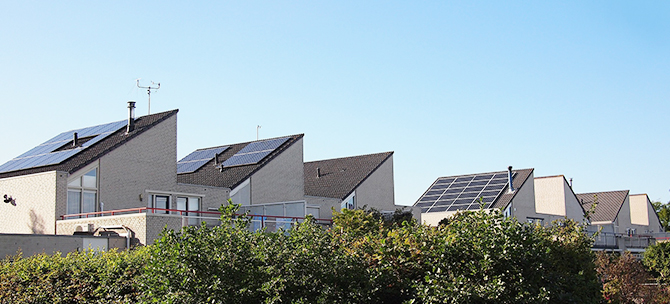 Solar panels on semi-detached houses.
