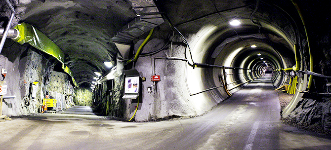 Tunnels for final disposal of nuclear waste.