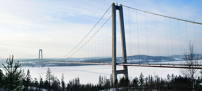 The High Coast Bridge in winter.